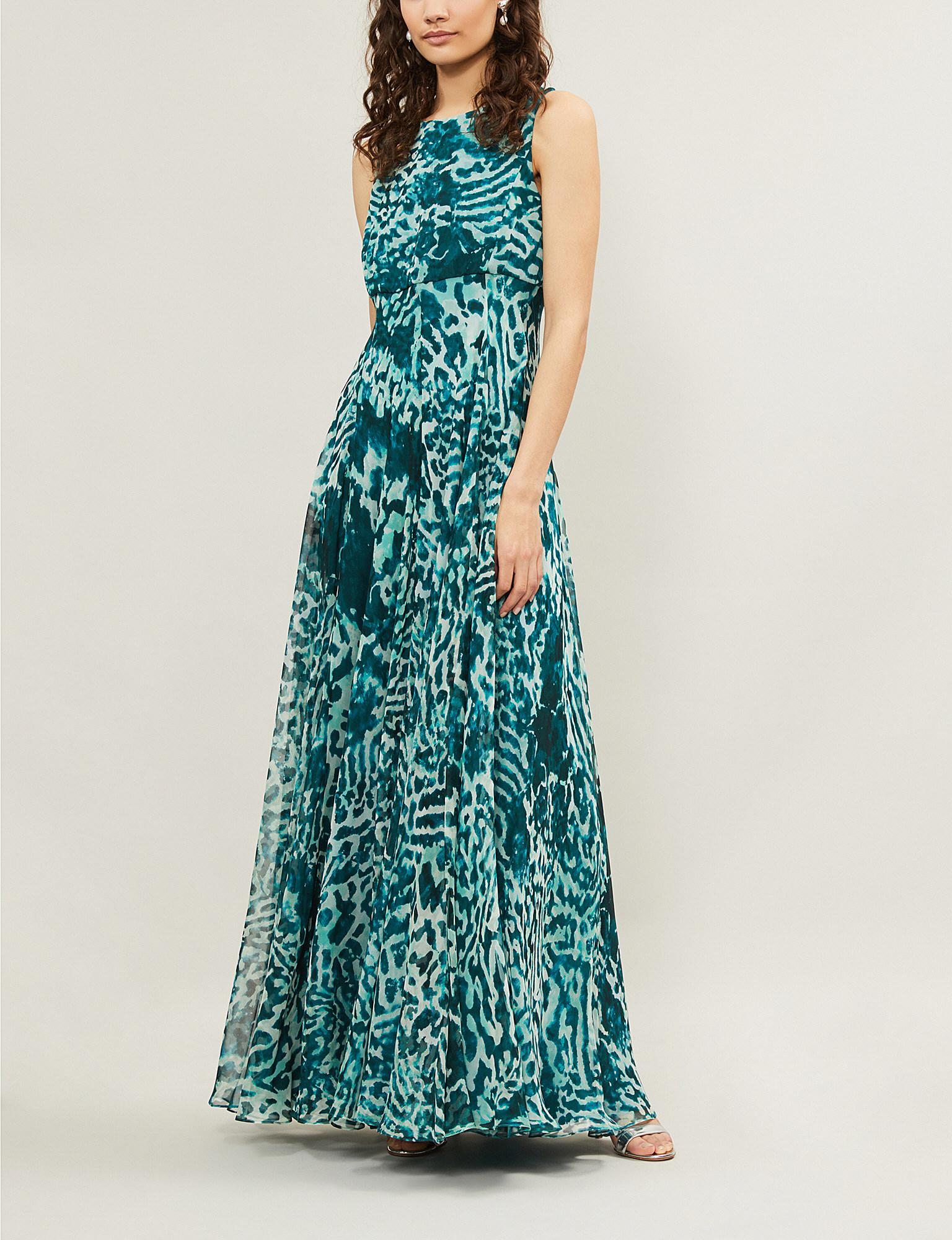 1a1b55b1bfa Lyst - Max Mara Elegante Lugano Leopard-print Silk Maxi Dress in Green