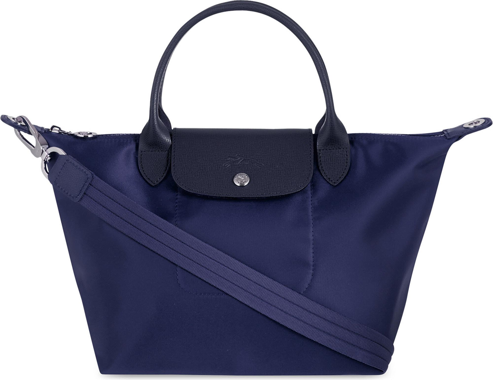 Longchamp Le Pliage Neo Medium Nylon   Leather Tote Bag in Blue - Lyst 873d648bb9d17