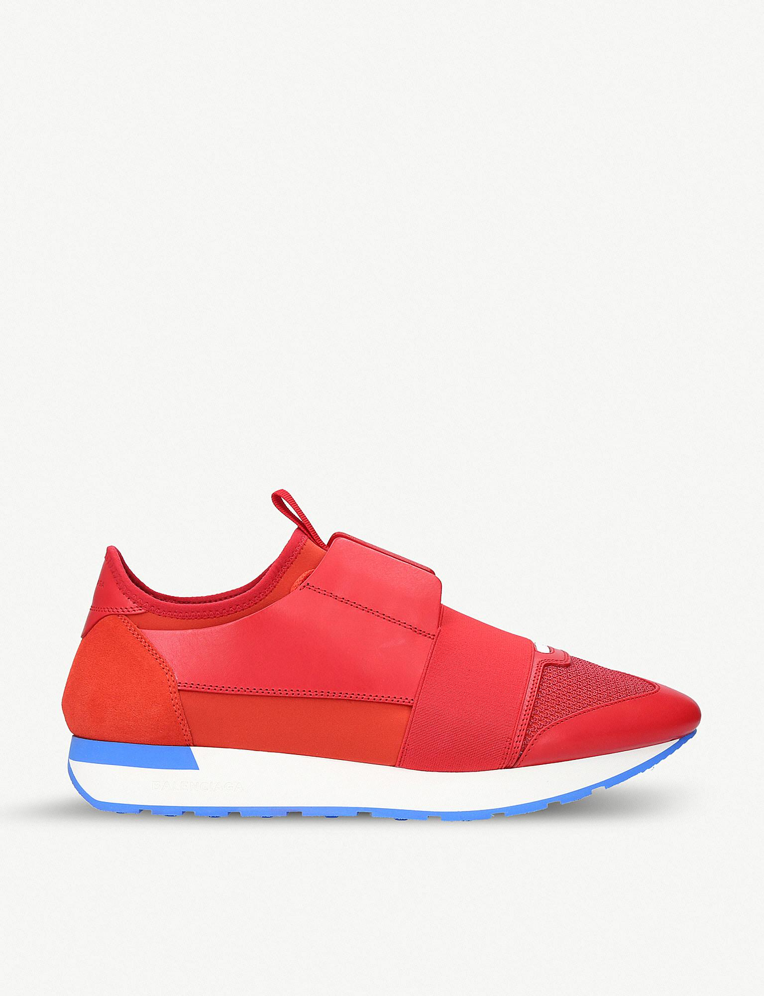 790e5db1c60e Balenciaga Panelled Race Runner Sneakers in Red for Men - Save 28 ...