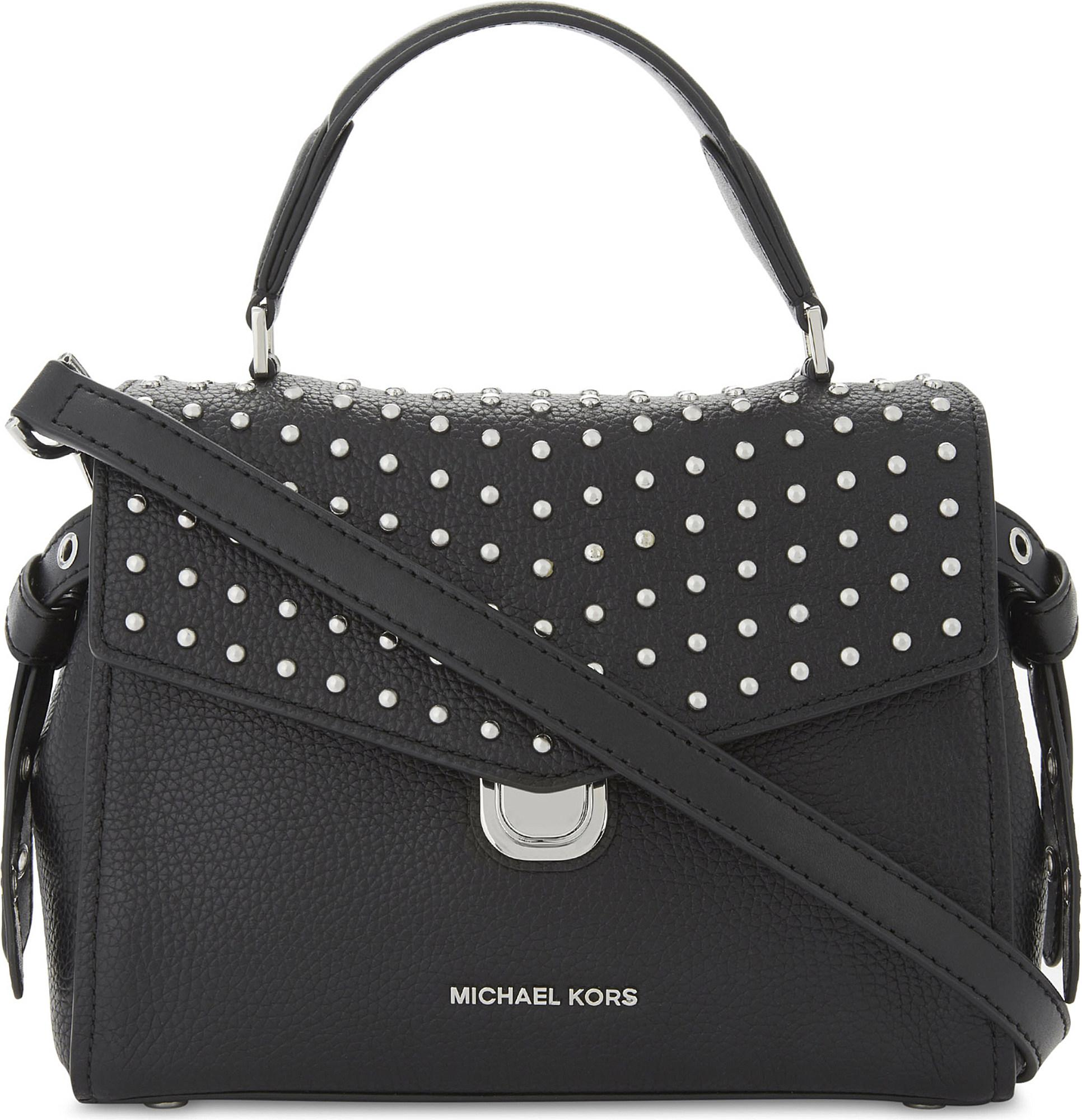 ffb5bc8054ca Lyst - MICHAEL Michael Kors Bristol Studded Leather Satchel Bag in Black