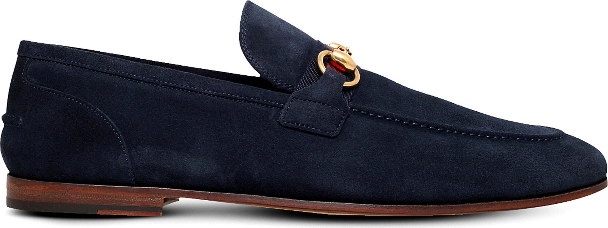 d37573c986a Lyst - Gucci Elanor Horsebit Suede Loafers in Black for Men