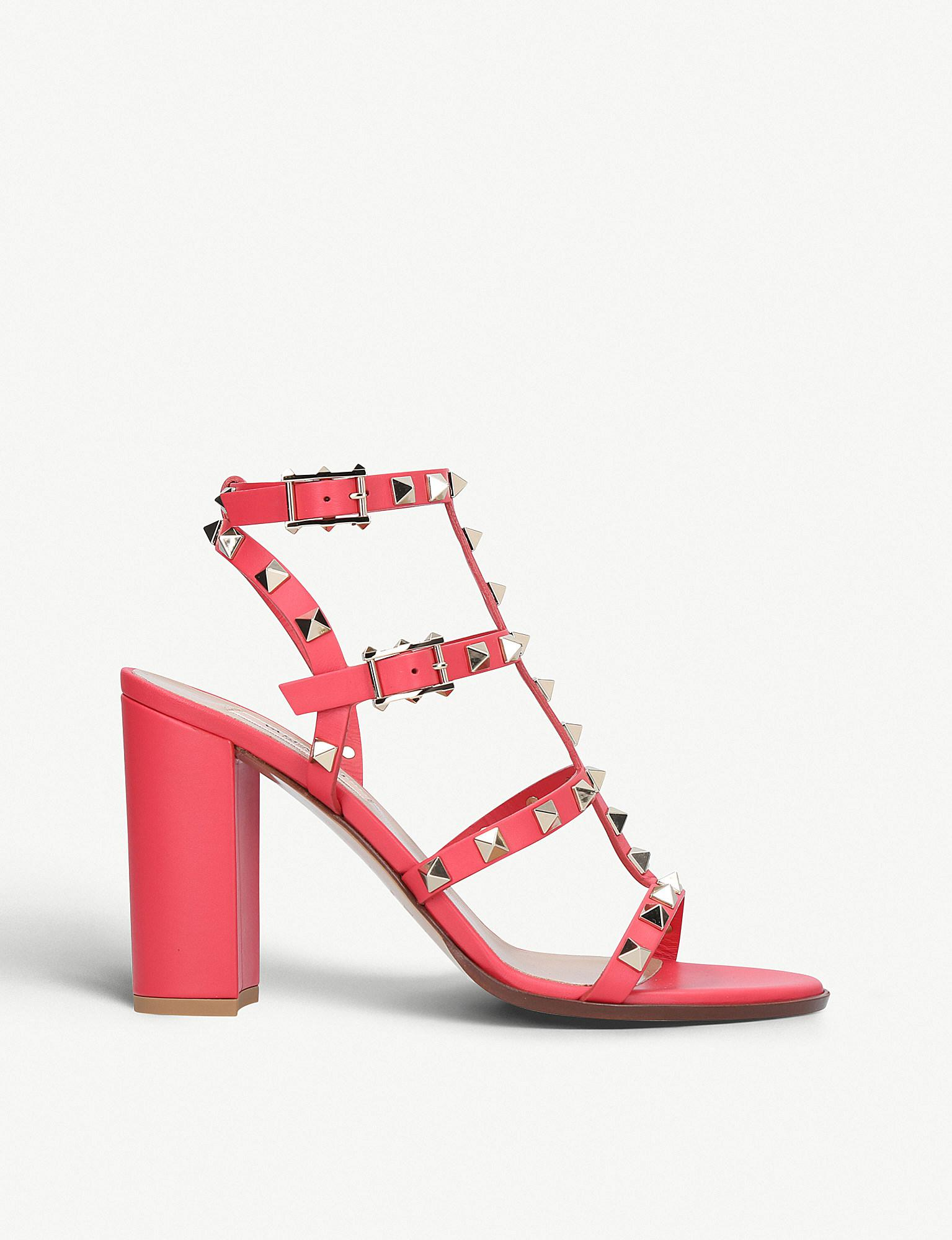 d9fc319e8d89 Lyst - Valentino Rockstud 90 Leather Heeled Sandals in Red