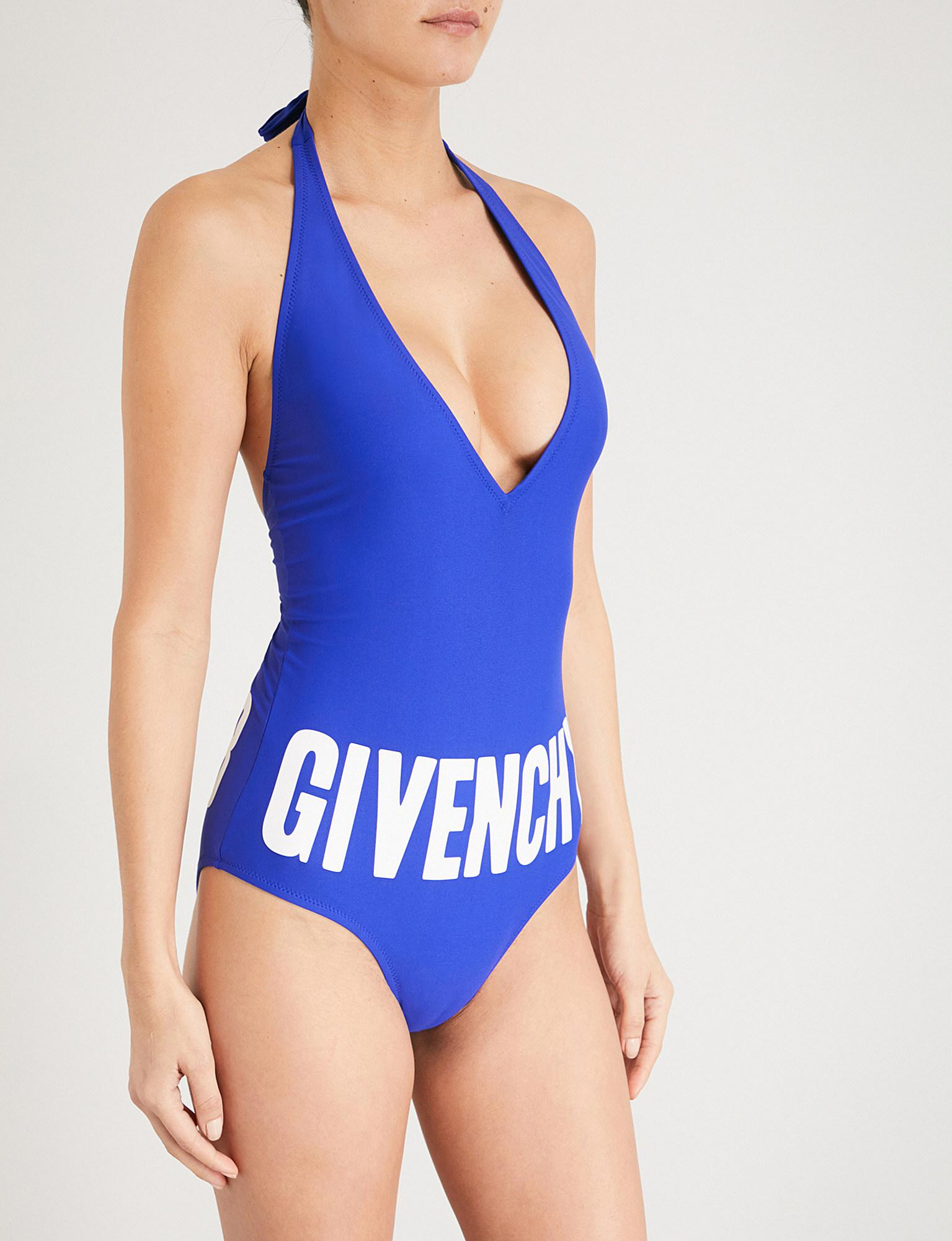 6613565c9a709 Givenchy Logo-print Swimsuit in Blue - Lyst