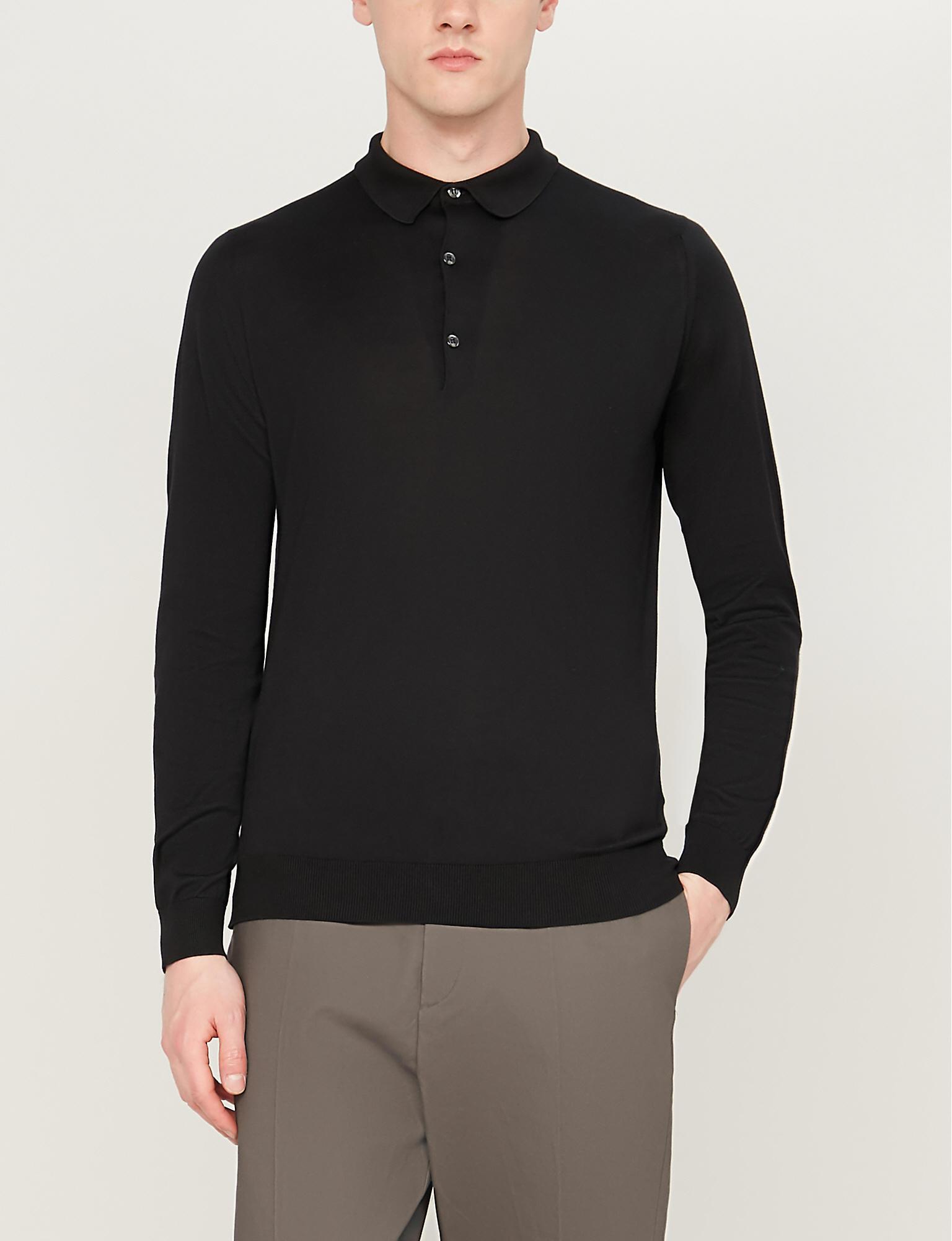 2e8d5f6b John Smedley Bradwell Knitted Polo Jumper in Black for Men - Lyst