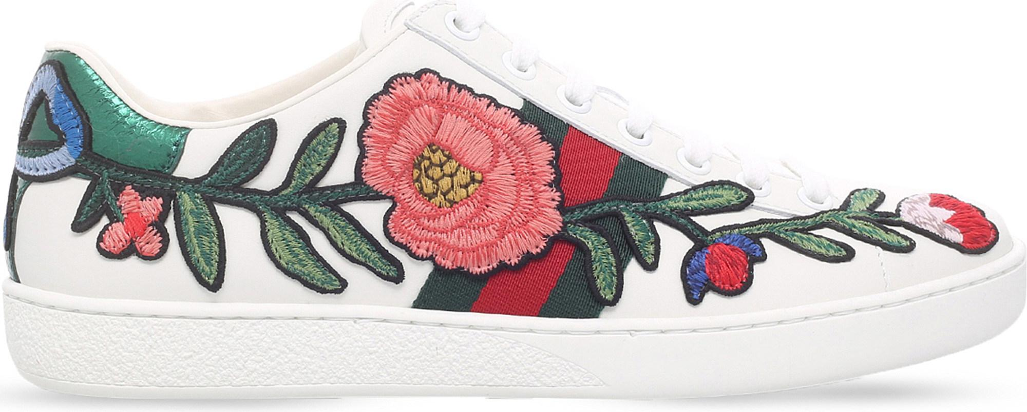 e3d824236c4 Lyst - Gucci New Ace Floral Embroidered Leather Trainers in Red