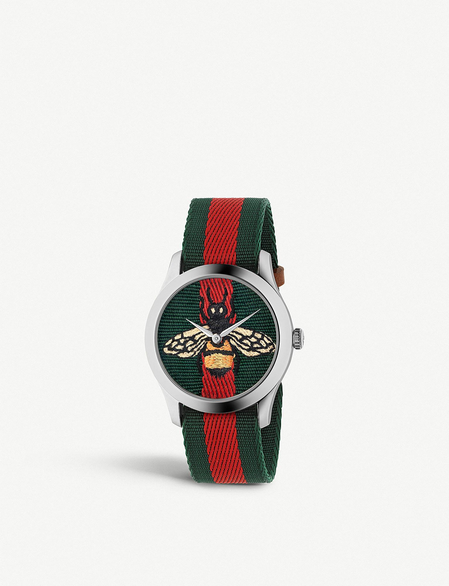d75ebacfebc Lyst - Gucci Ya1264060 G-timeless Stainless Steel And Canvas Watch ...