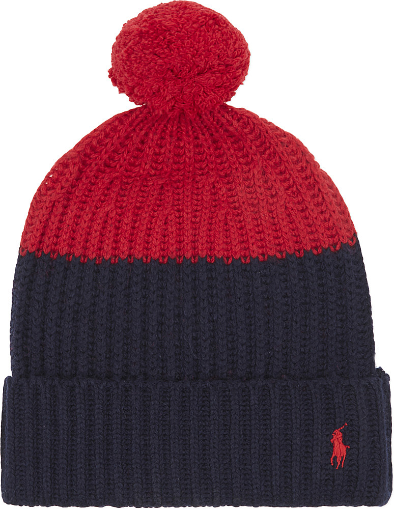 2c935821bf2 Polo Ralph Lauren Colour Block Knitted Bobble Hat in Red - Lyst