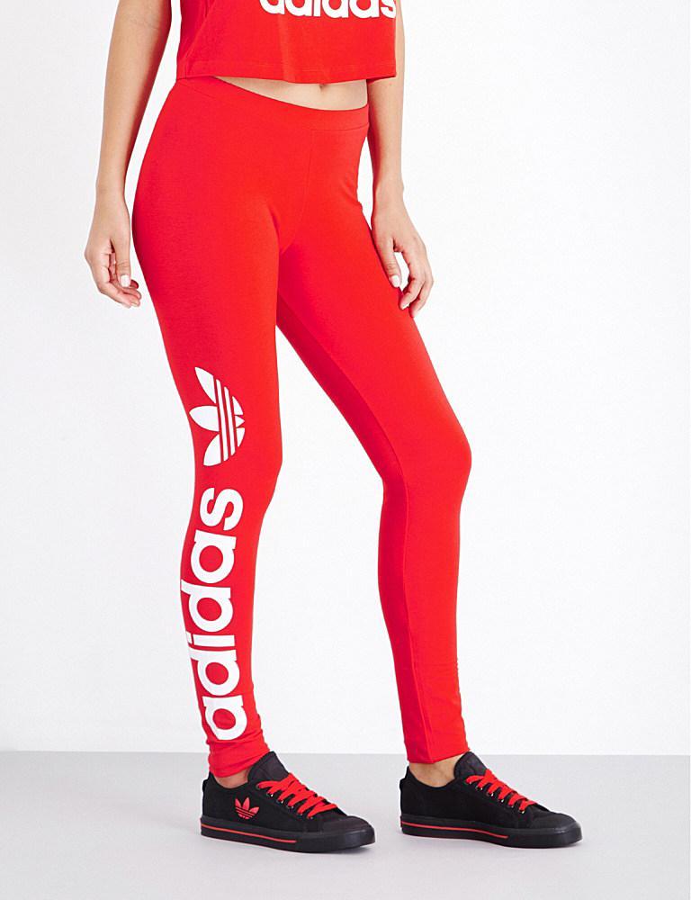 Adidas Originals Trefoil Stretch Cotton Leggings In Red Lyst