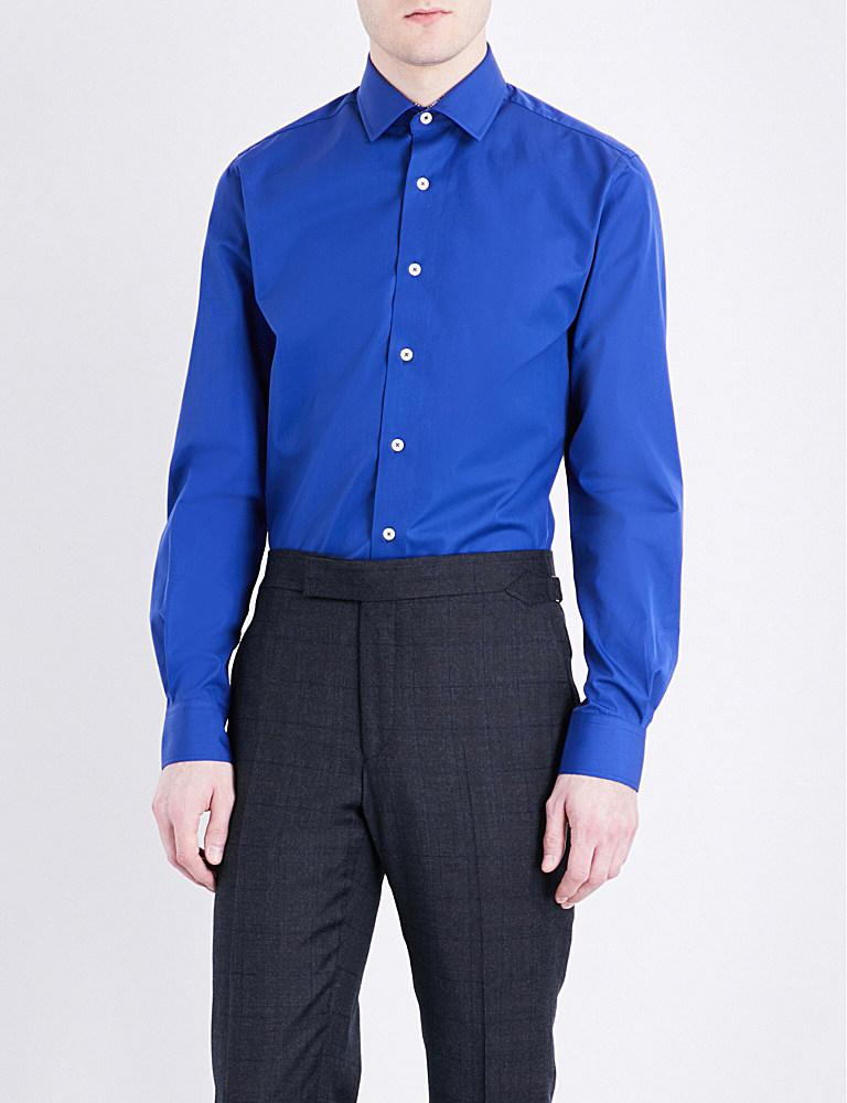 duchamp tailored fit cotton poplin shirt in blue for men