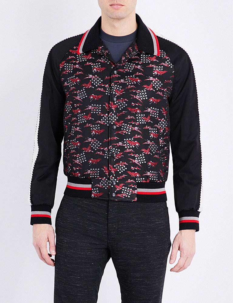 Lanvin Embroidered Silkblend Bomber Jacket For Men  Lyst