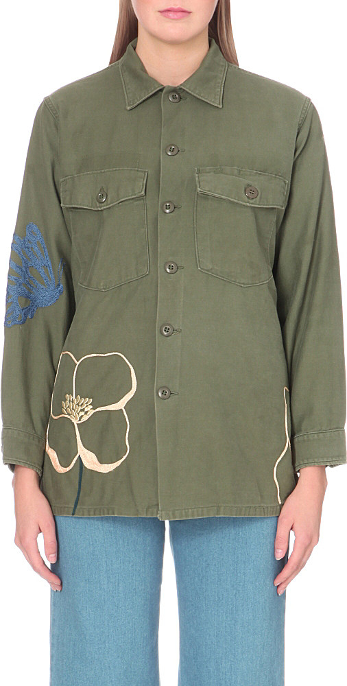 Bliss and mischief field poppy embroidered cotton army