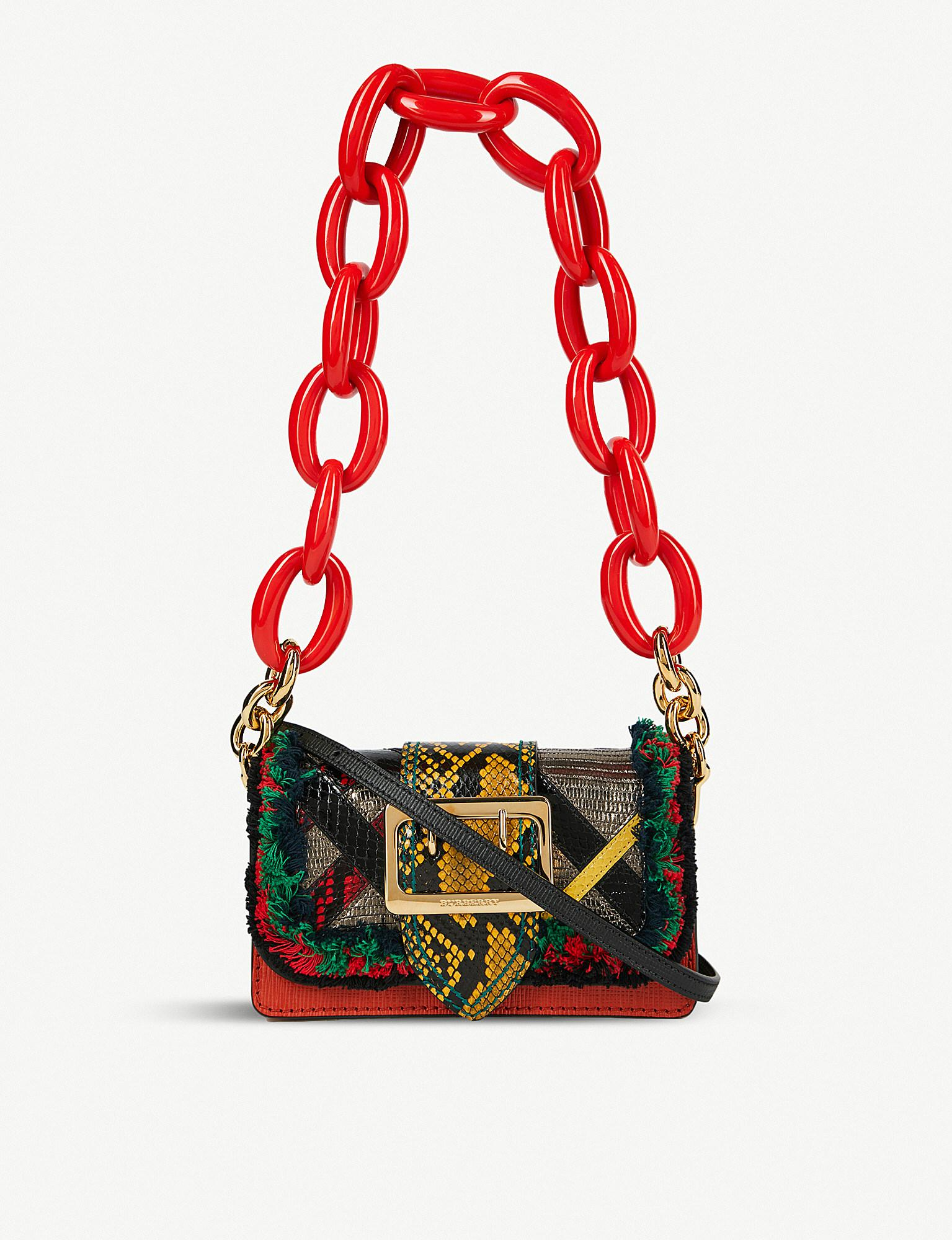 Lyst - Burberry Buckle Patchwork Leather Shoulder Bag in Red 4c40a2d484f34