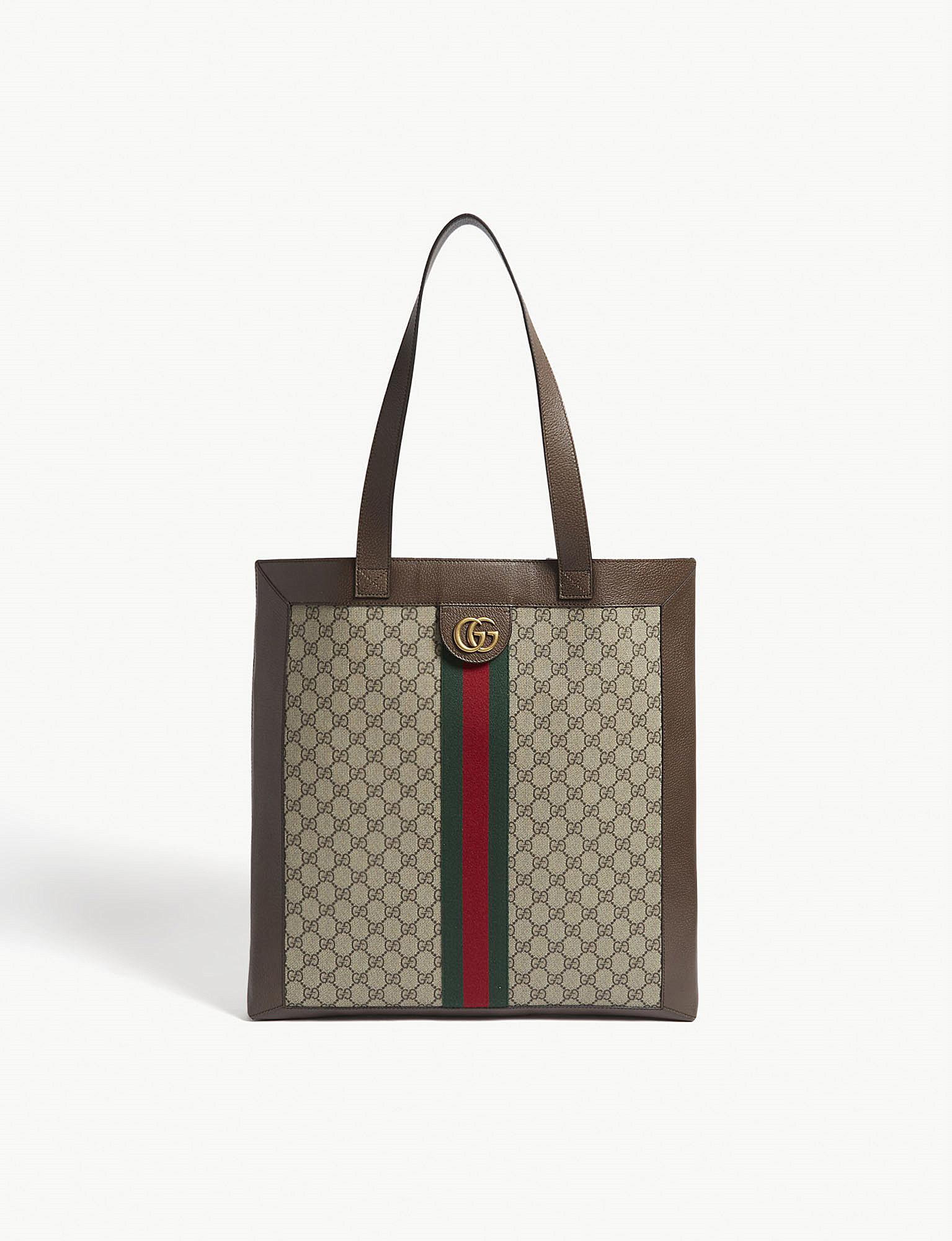 Ophidia Medium Patent Leather-trimmed Suede Tote - Tan Gucci ZbDrGouVcc