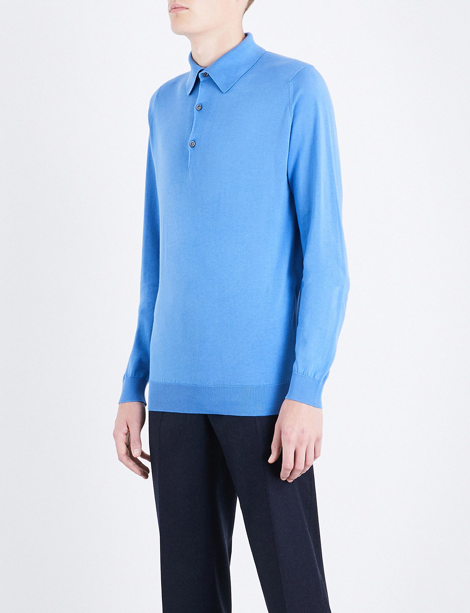 2d1f94d1 Lyst - John Smedley Bradwell Knitted Polo Jumper in Blue for Men