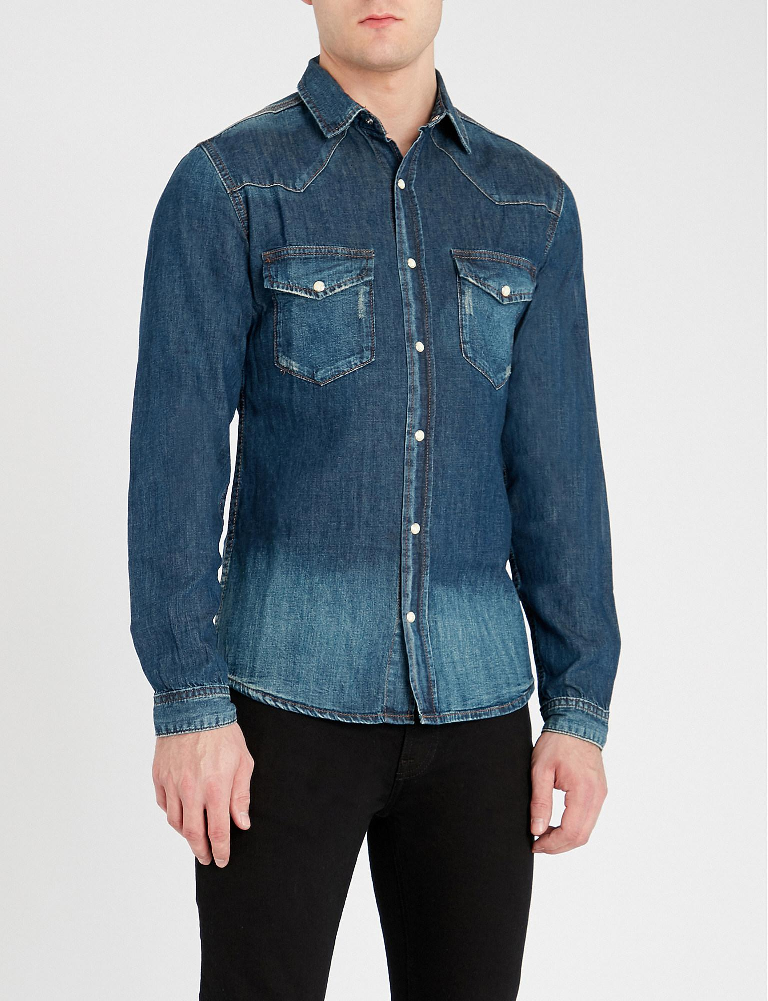 5e4531427f Lyst - The Kooples Faded Relaxed-fit Stretch-denim Shirt in Blue for Men