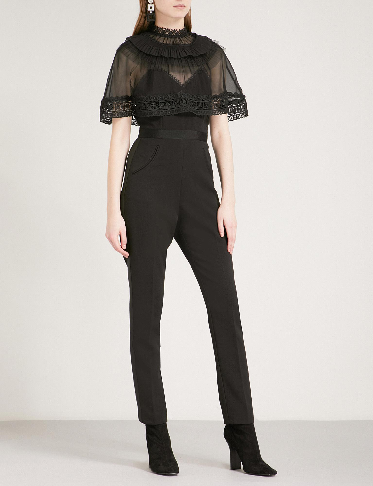 57e1a6df565a Lyst - Self-Portrait Trimmed Overlay Crepe Jumpsuit in Black