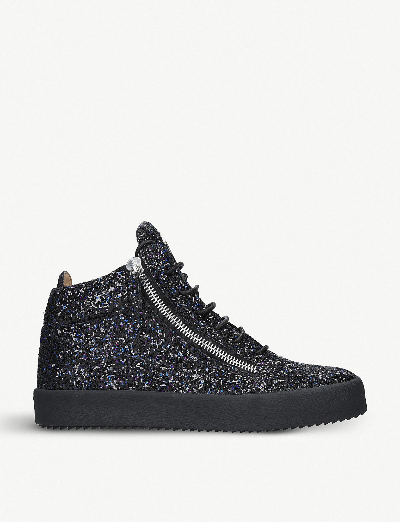1b6c3bf375e Lyst - Giuseppe Zanotti Leather And Glittered High-top Trainers