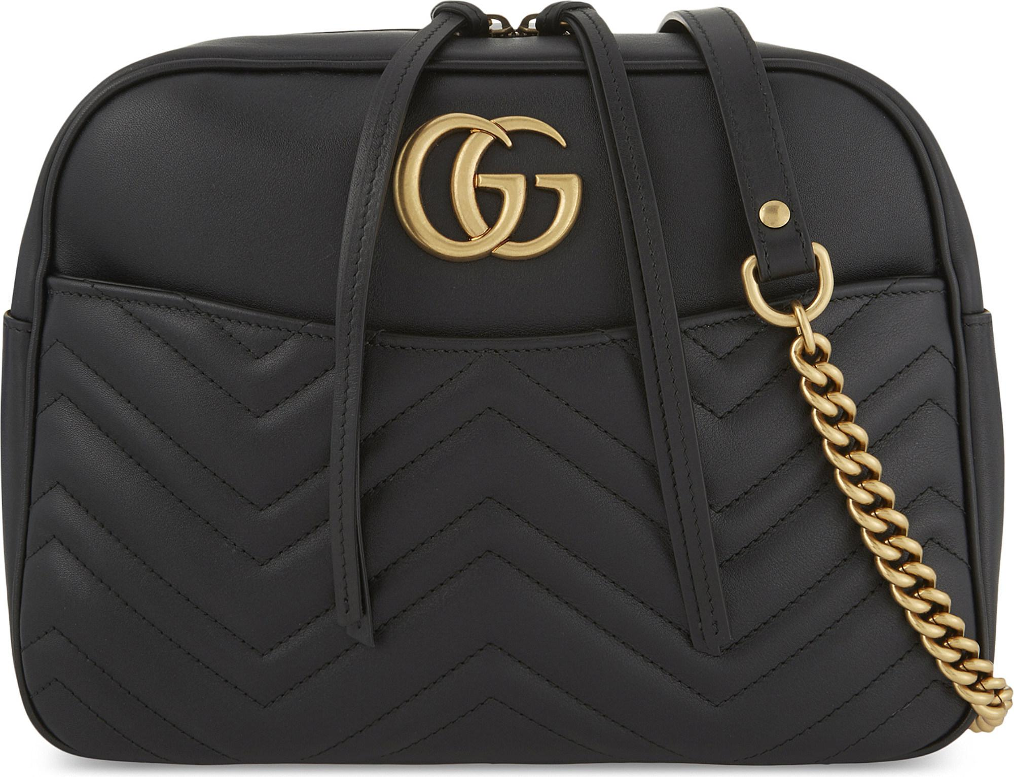 5fb734c24 Gucci GG Marmont Medium Quilted Leather Shoulder Bag in Black - Lyst