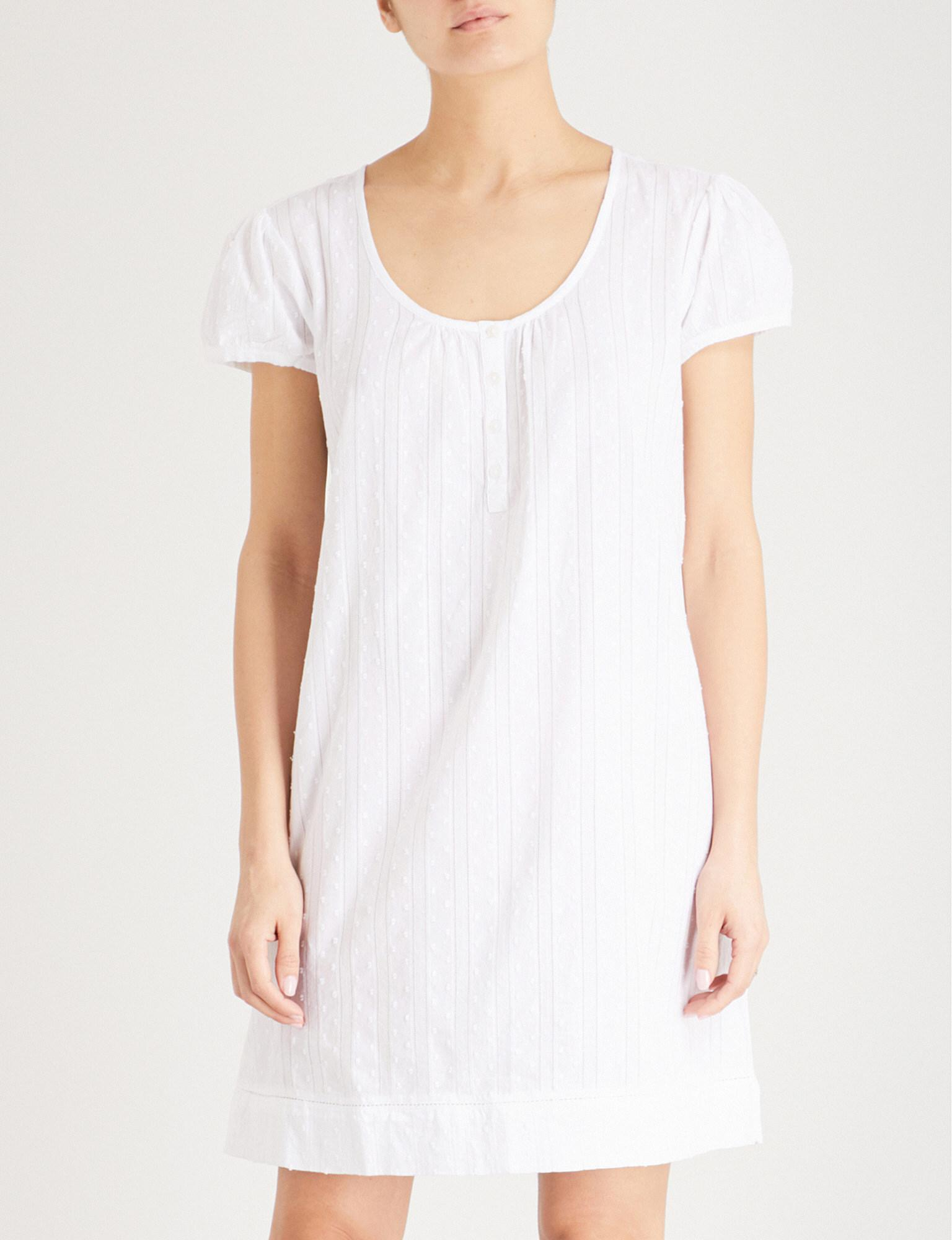 5160a4bb07 The White Company Dotted Cotton Nightdress in White - Lyst