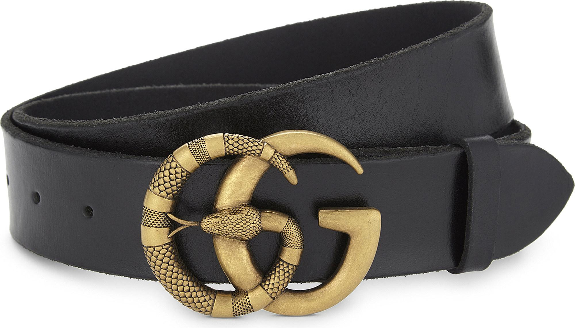 a397ce4ee61 Gucci Snake Gg Buckle Leather Belt in Black for Men - Lyst