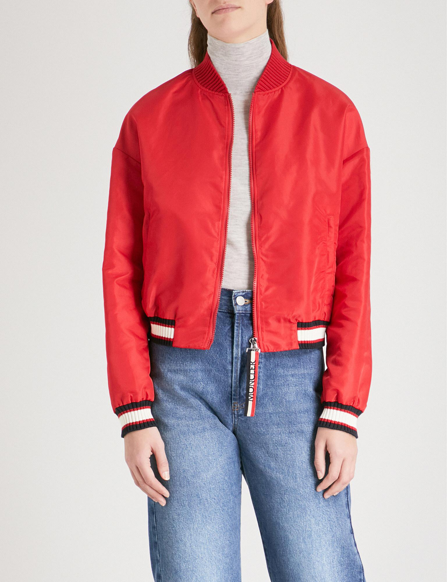 49de966e6 Moncler Actinote Shell Bomber Jacket in Red - Lyst