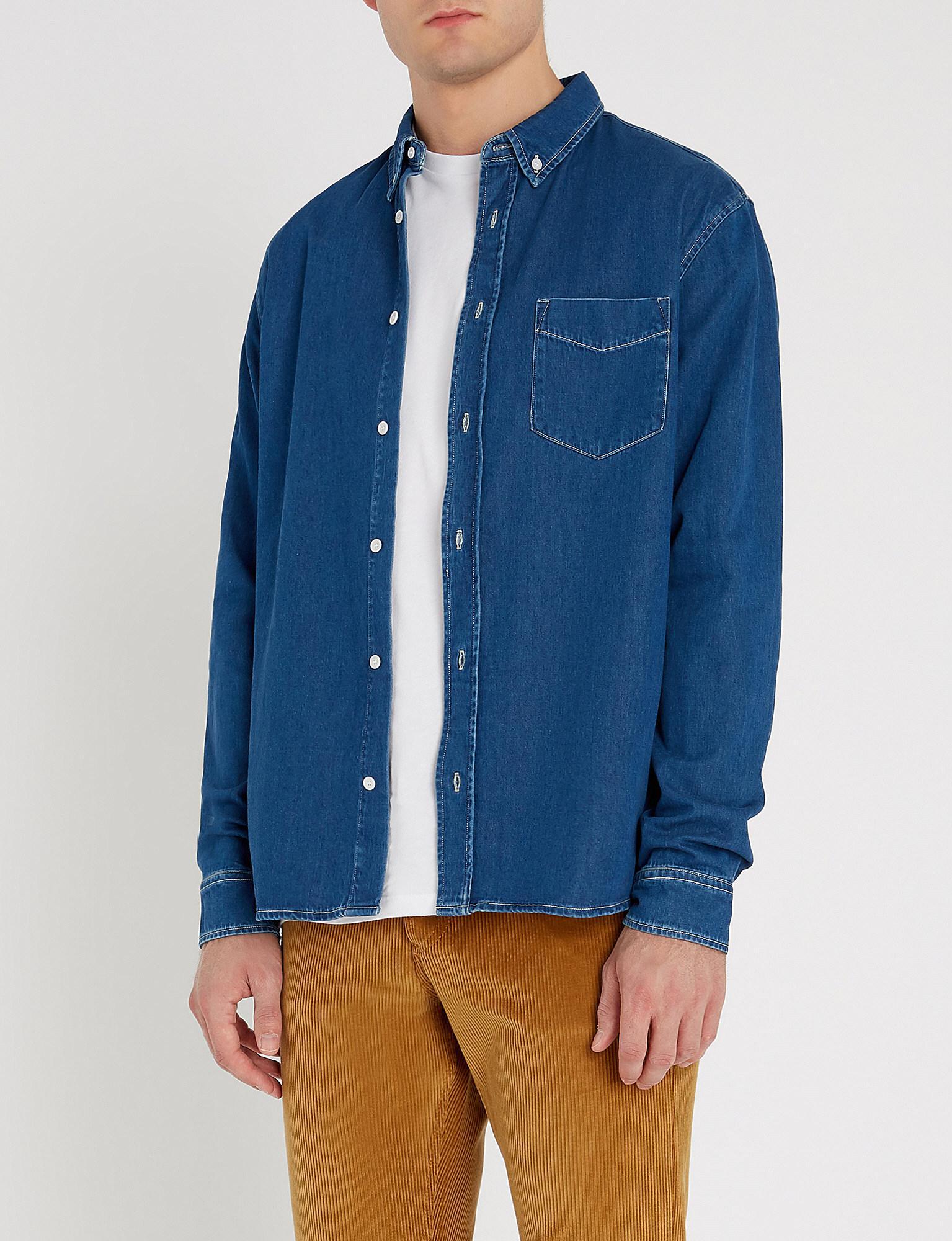 Regular In For Fit Men Blue Denim Sandro Lyst Shirt Adw7qqg