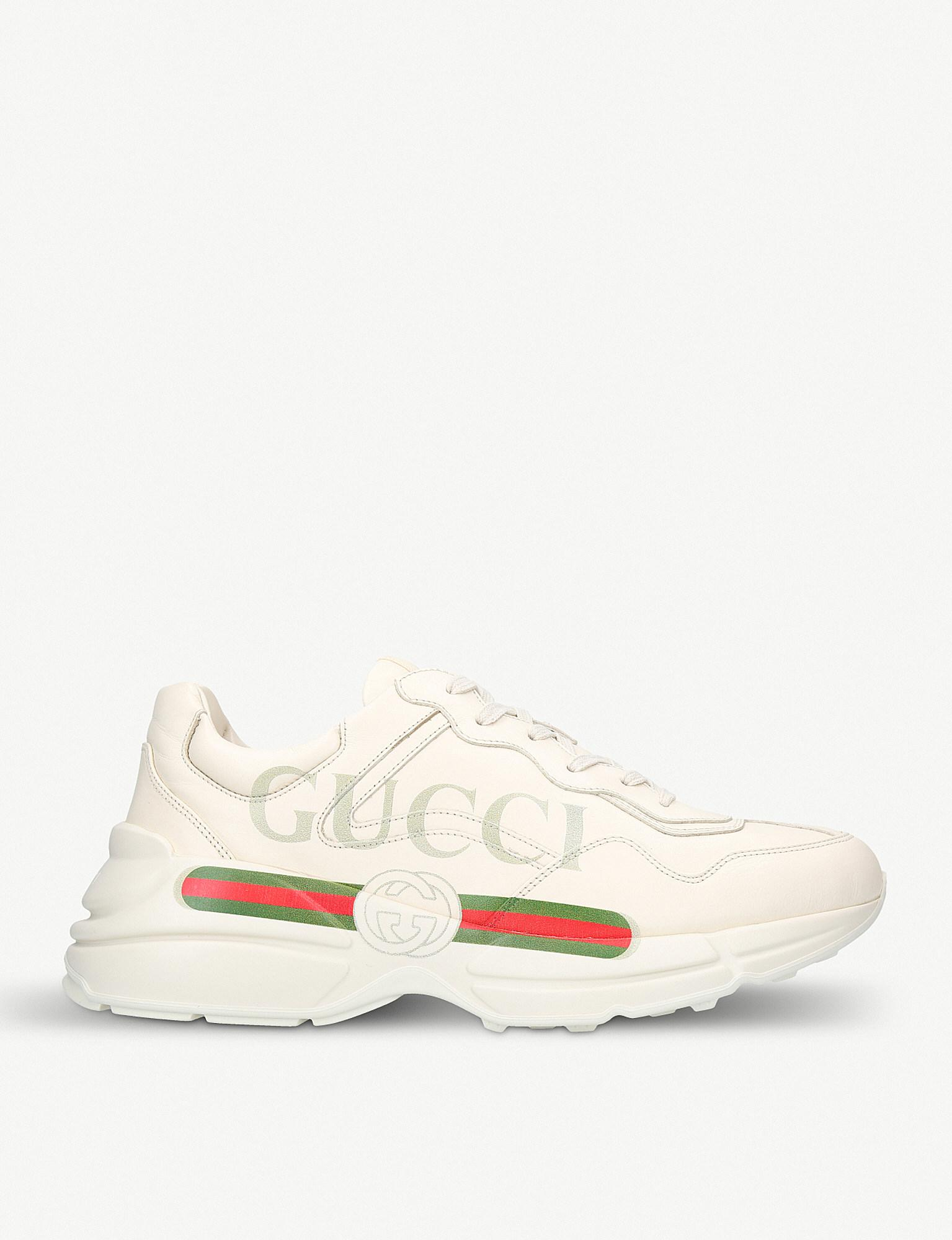 4f7cba30b0c Lyst - Gucci White Rhyton Oversized Leather Sneakers in White for ...