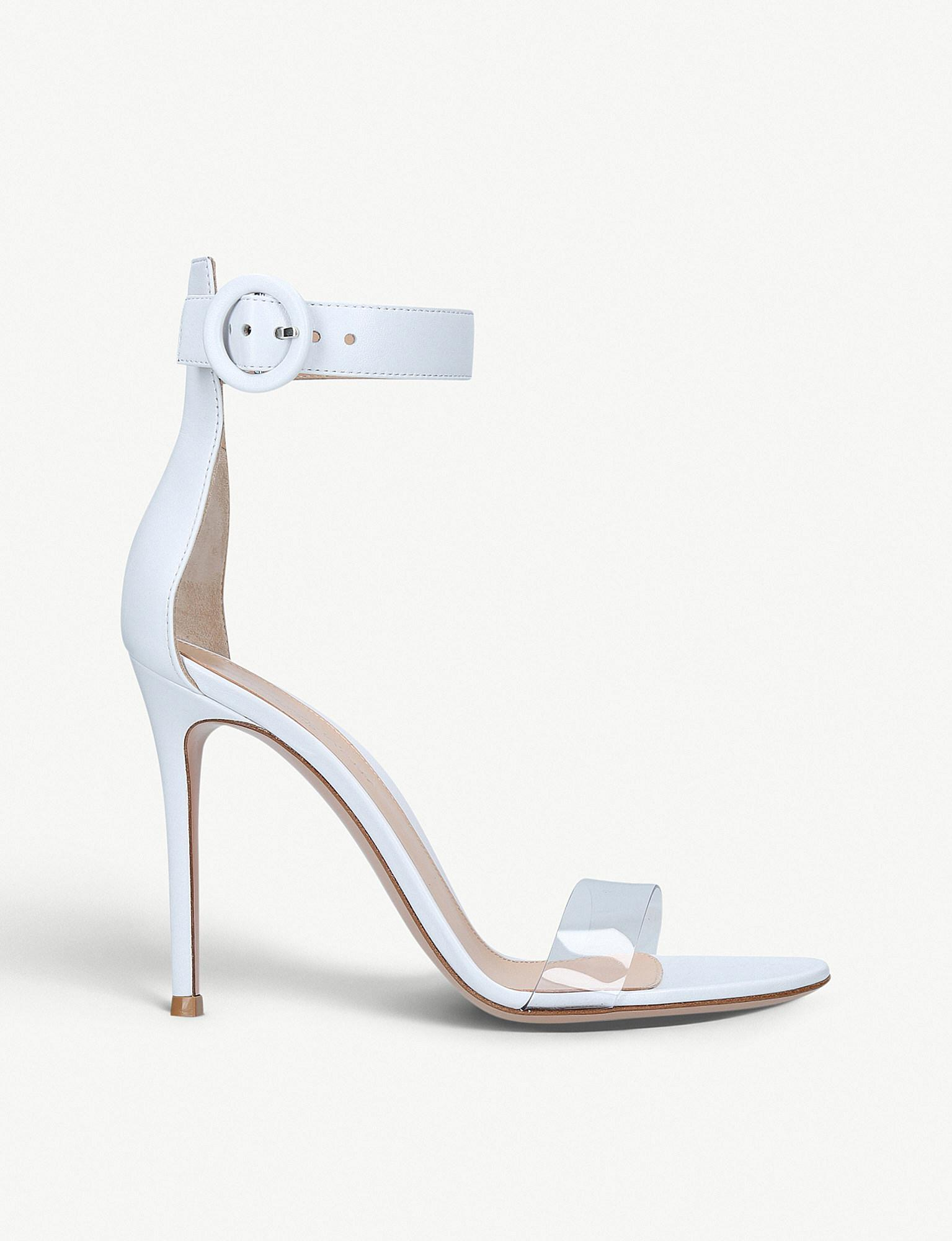 Stella 105 White Plexi Leather Sandals Gianvito Rossi Wear Resistance Outlet Low Price Authentic lTmxYv