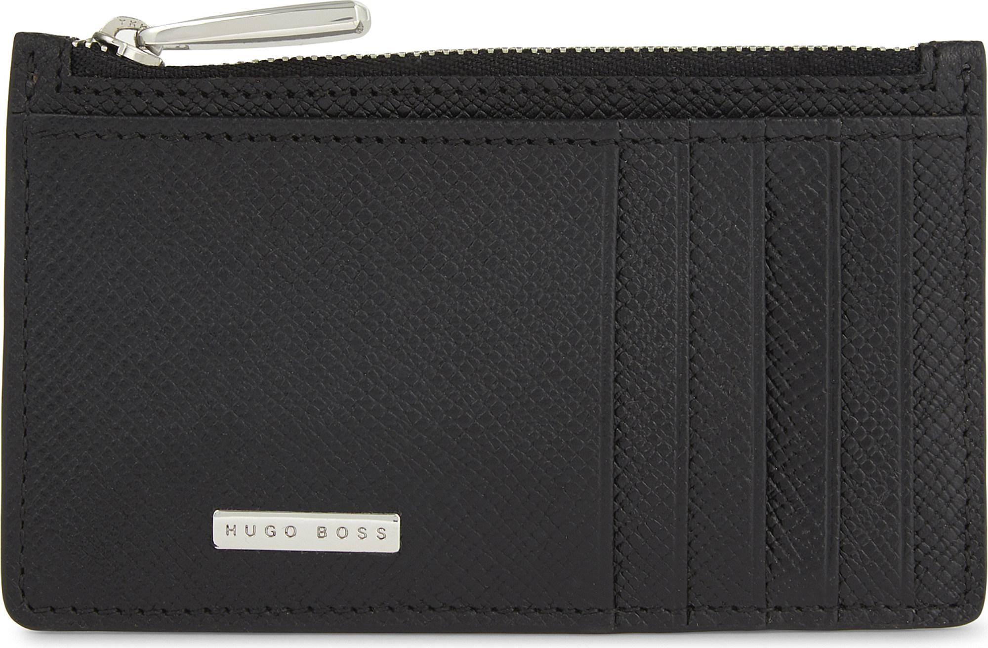 Lyst boss signature leather zipped card holder in black for men gallery colourmoves