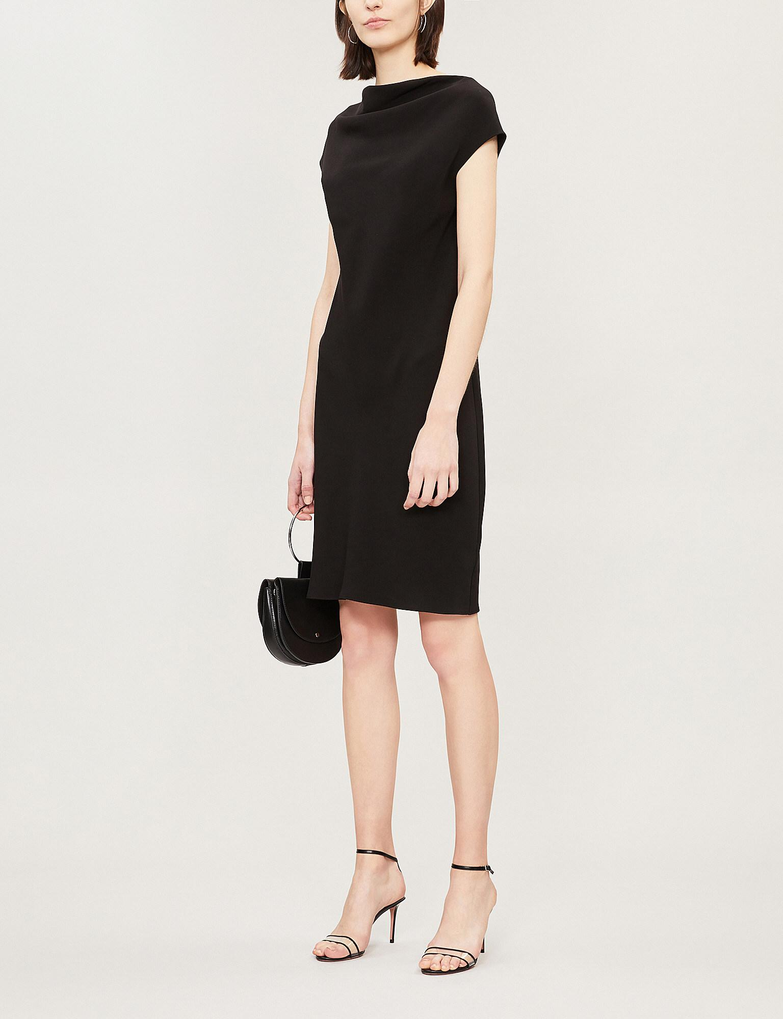 76a72ac9d33 Theory Draped Crepe Sheath Dress in Black - Lyst