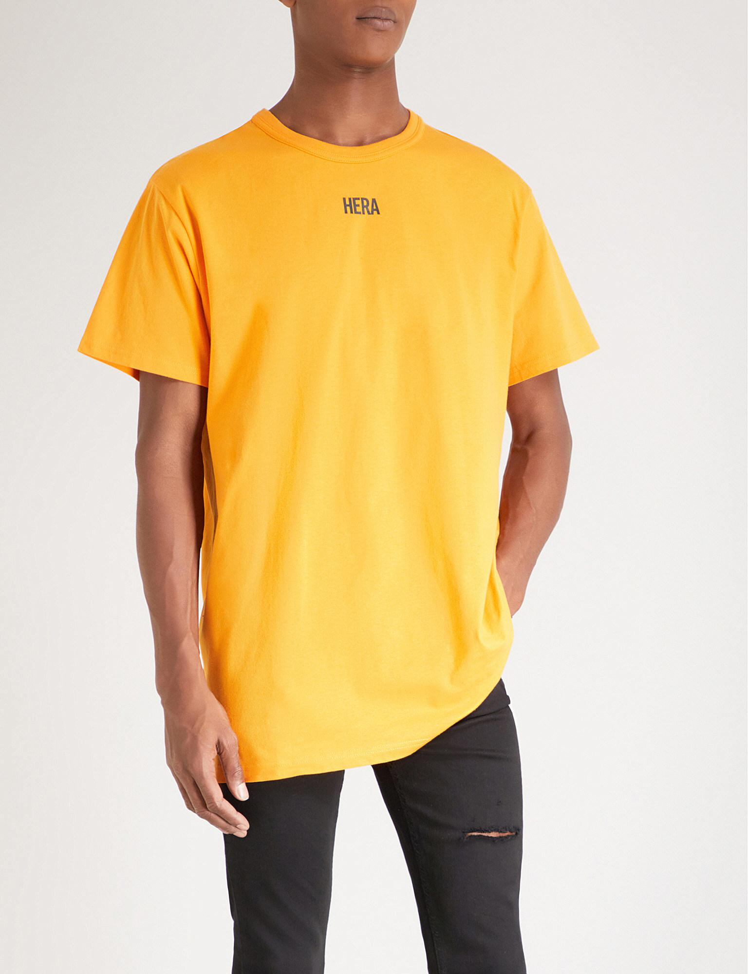83e50328 HERA Printed Cotton-jersey T-shirt in Yellow for Men - Lyst