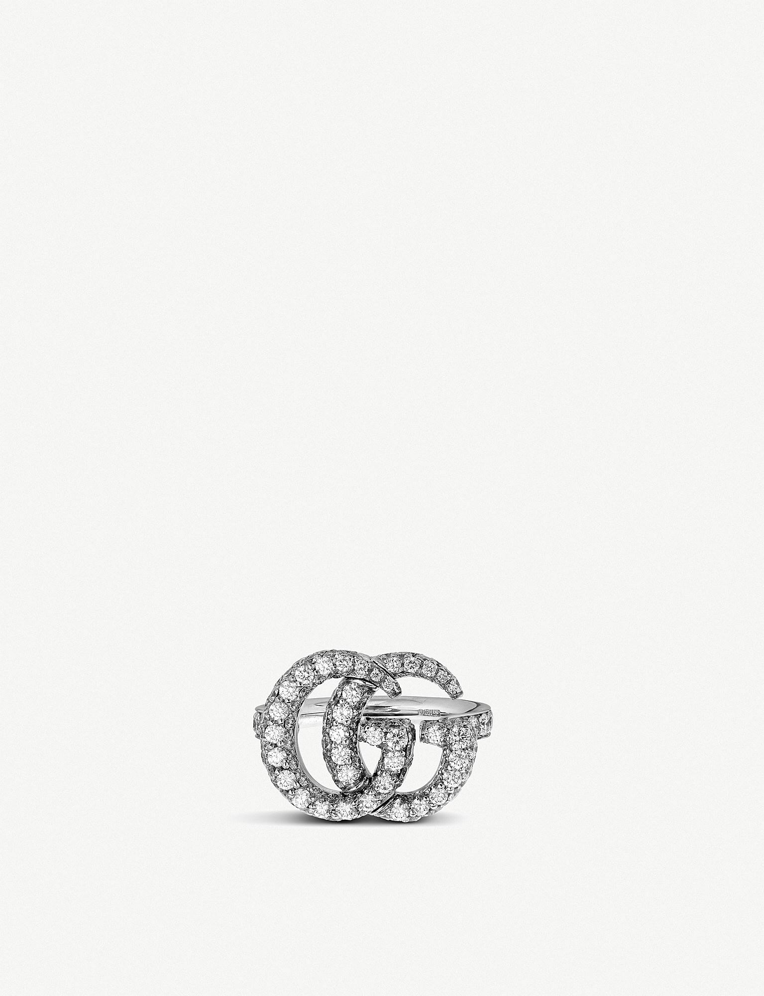 ec5fa56d1 Lyst - Gucci GG Running 18ct White-gold And Diamond Ring in Metallic