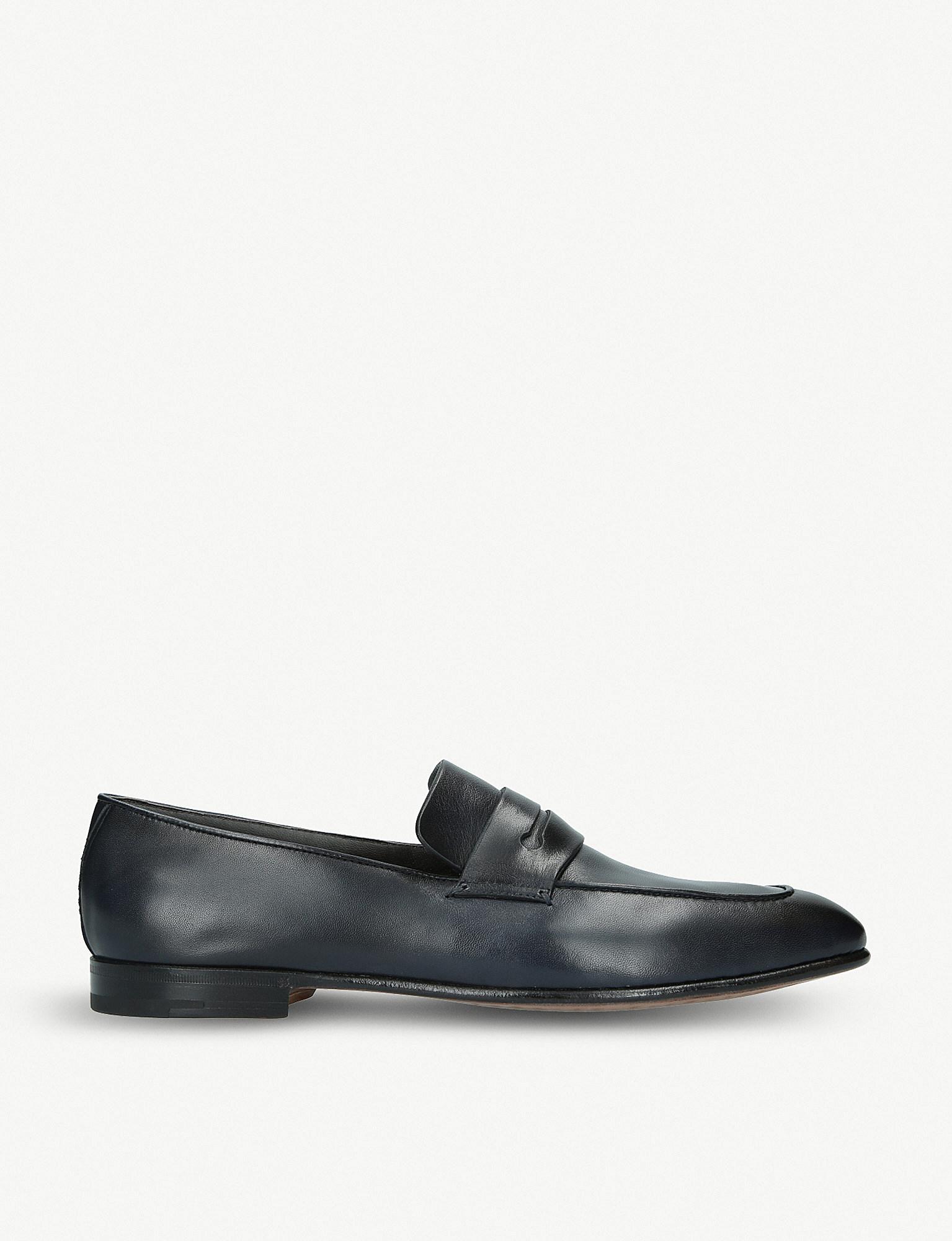 093cebae51a Lyst - Ermenegildo Zegna Asola Leather Penny Loafers in Blue for Men
