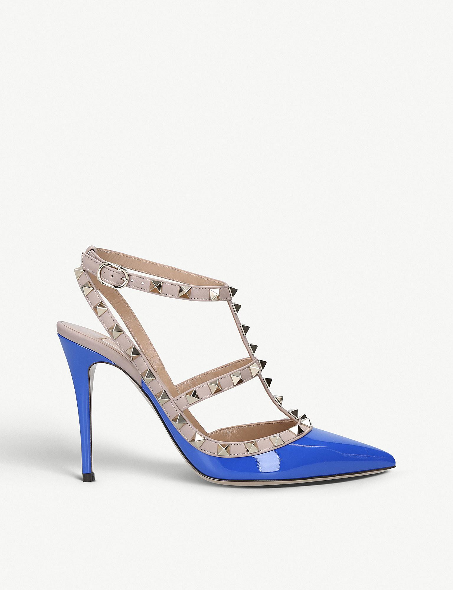 96db8ce2087 Valentino Rockstud 100 T-bar Patent-leather Courts in Blue - Lyst