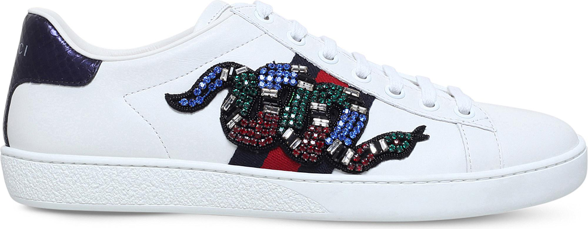 Gucci Ace Snake Embroidered Leather Trainers In White