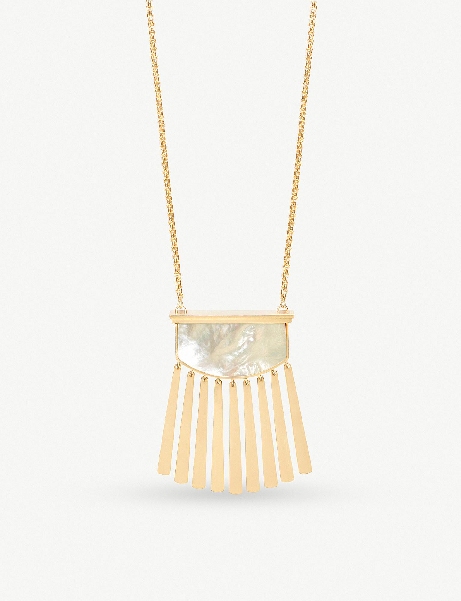 3b2317effa7f9 Lyst - Kendra Scott Ellen 14ct Gold-plated And Ivory Mother Of Pearl ...