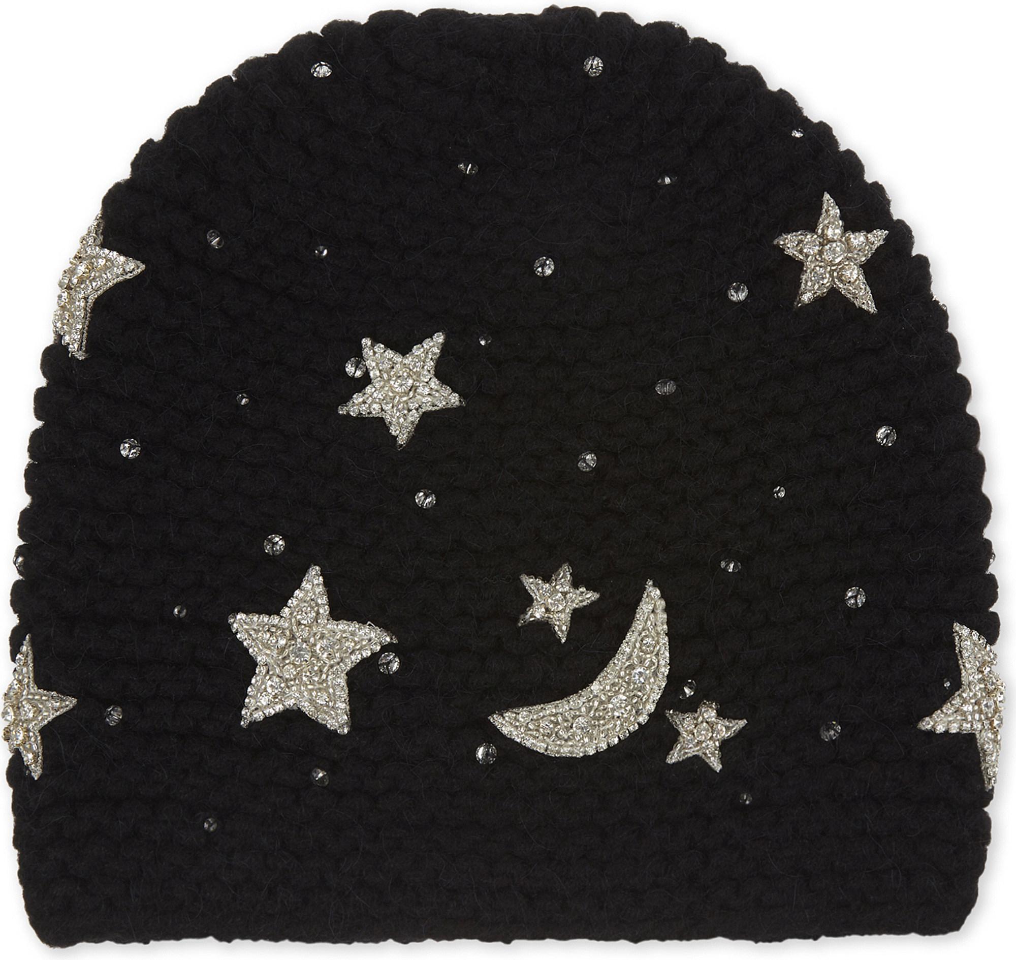 ce0ec9b11ca Lyst - Jennifer Behr Luna Embellished Star Beanie in Black