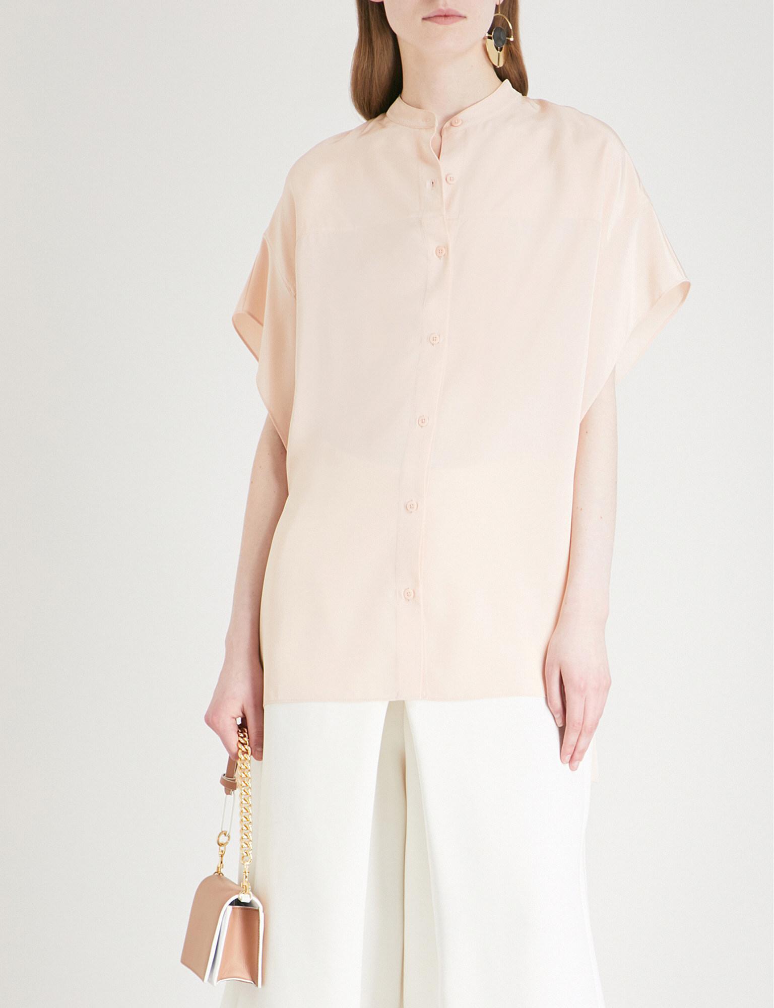 1c855021024604 Lyst - Diane von Furstenberg Asymmetric Silk Top in Pink