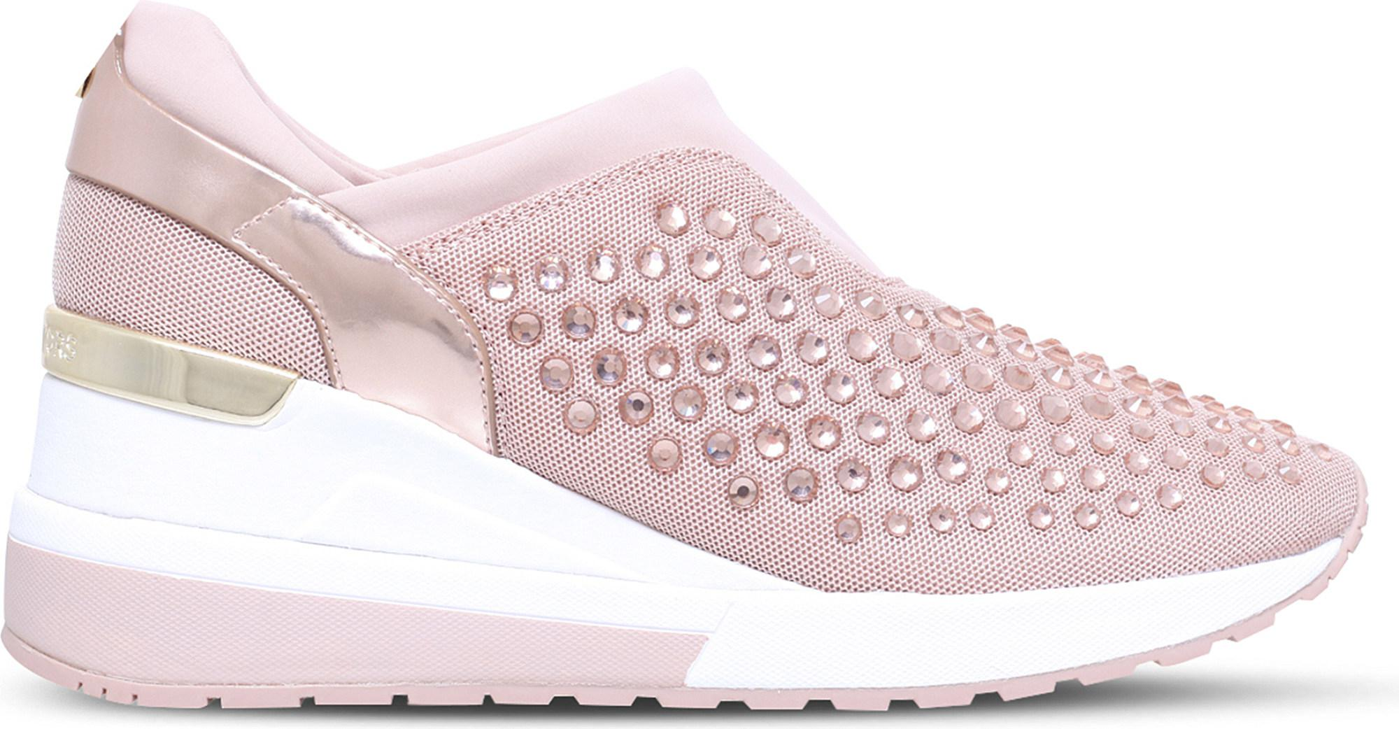 Discount Michael Michael Kors Pale Pink Maloy Textile And Patent Leather Trainers for Women Sale