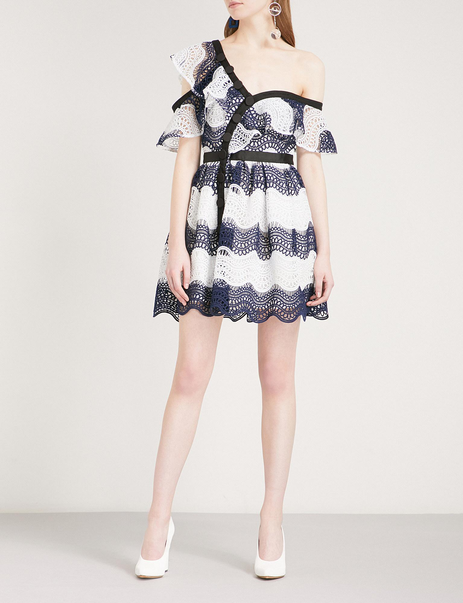 d7081f78eb1 Self-Portrait Wave Guipure-lace Frill Mini Dress in Blue - Lyst