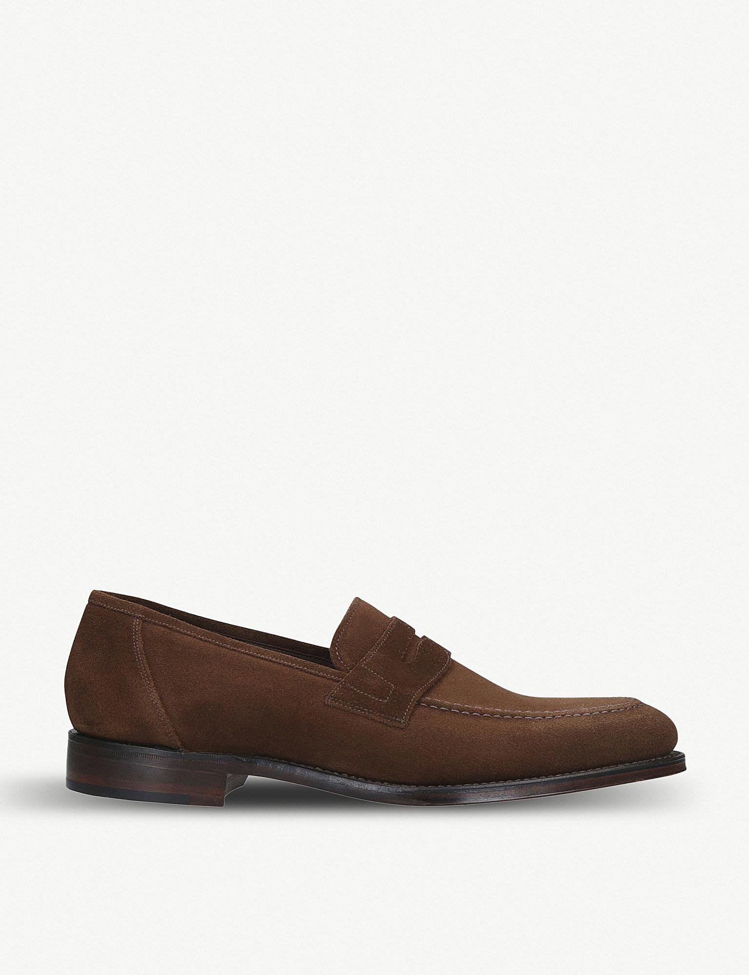 8318d7646c0 Loake Anson Suede Penny Loafers in Brown for Men - Lyst