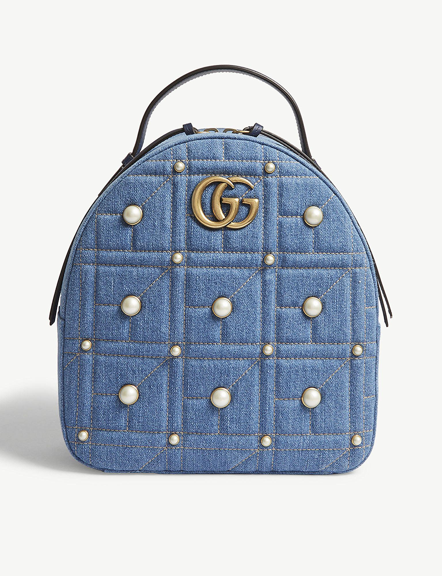 Lyst - Gucci Gg Marmont Denim Backpack in Blue 7d34b1ad38177