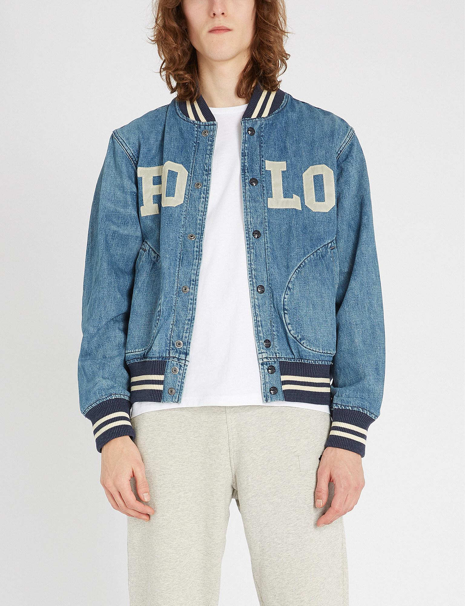 0558c38e52 Lyst - Polo Ralph Lauren Varsity-inspired Denim Jacket in Blue for ...