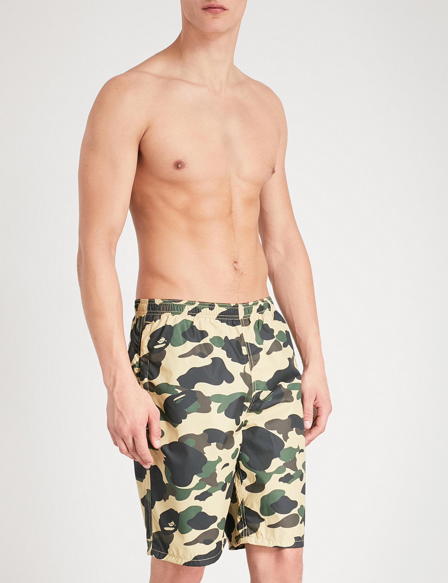 892901a120b Lyst - A Bathing Ape Camouflage Ape-print Swim Shorts in Green for Men