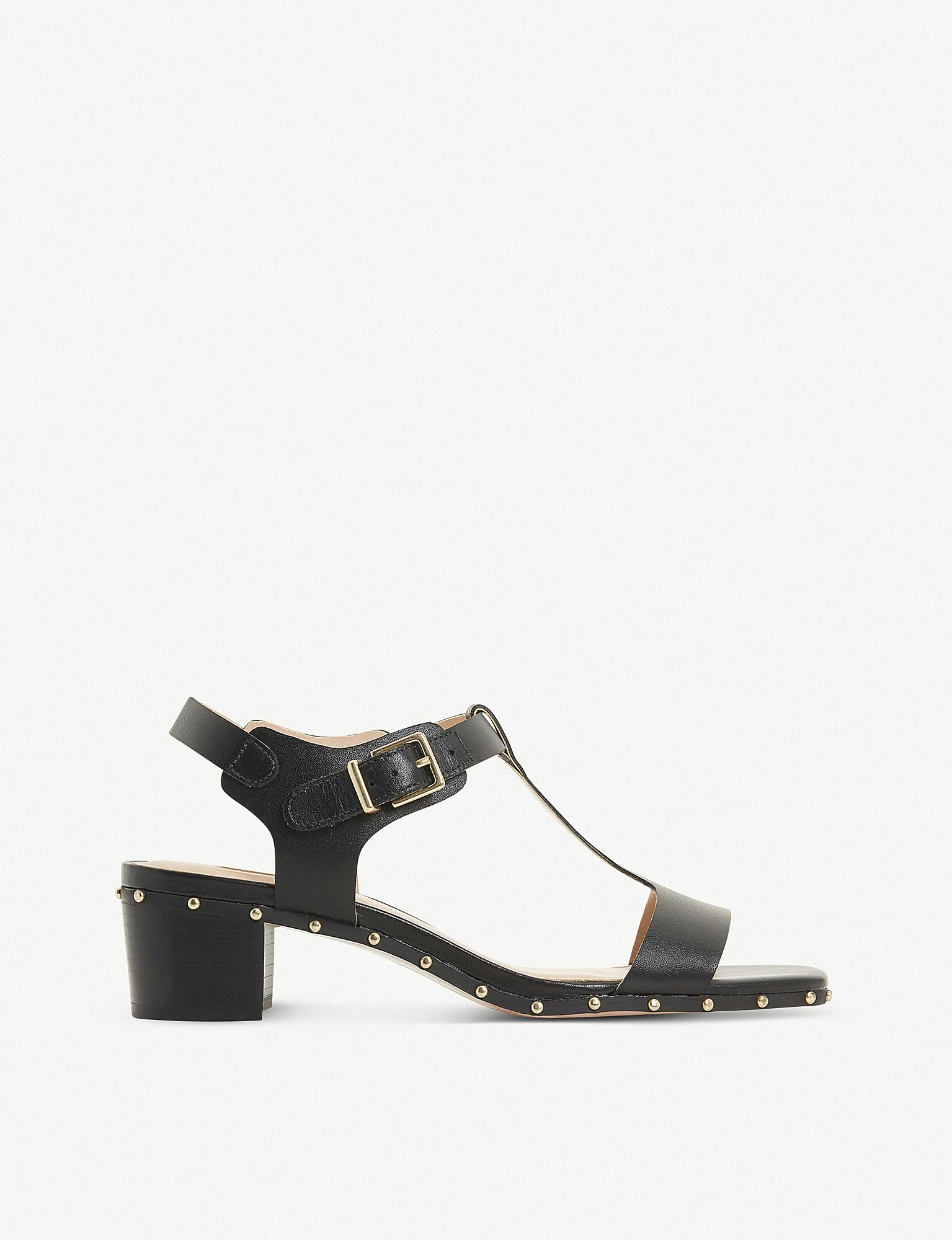 86fcfadb34ae Dune Isadora Studded T-bar Leather Sandals in Black - Lyst