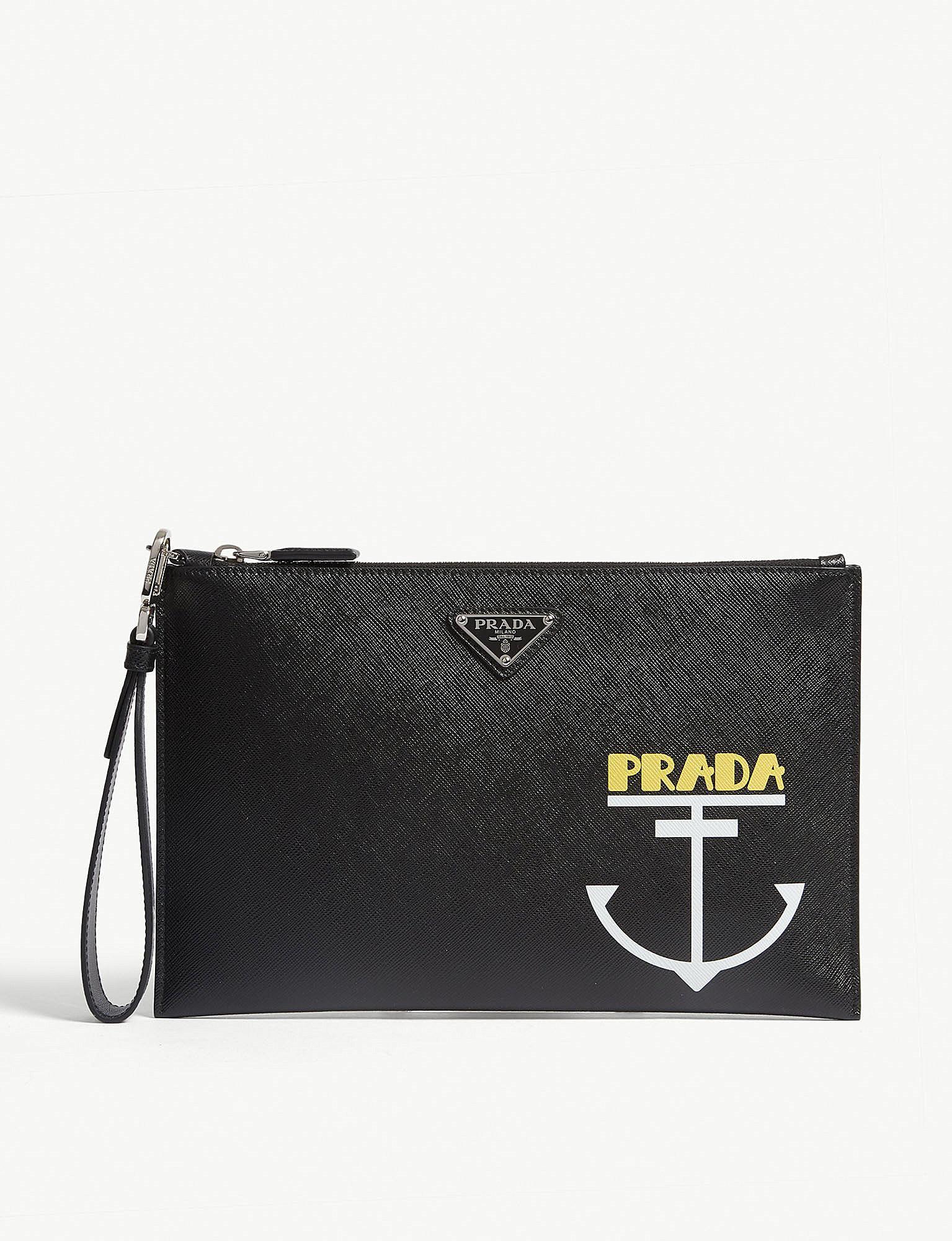 db0785edf1b0 Lyst - Prada Anchor Print Pouch Bag in Black for Men
