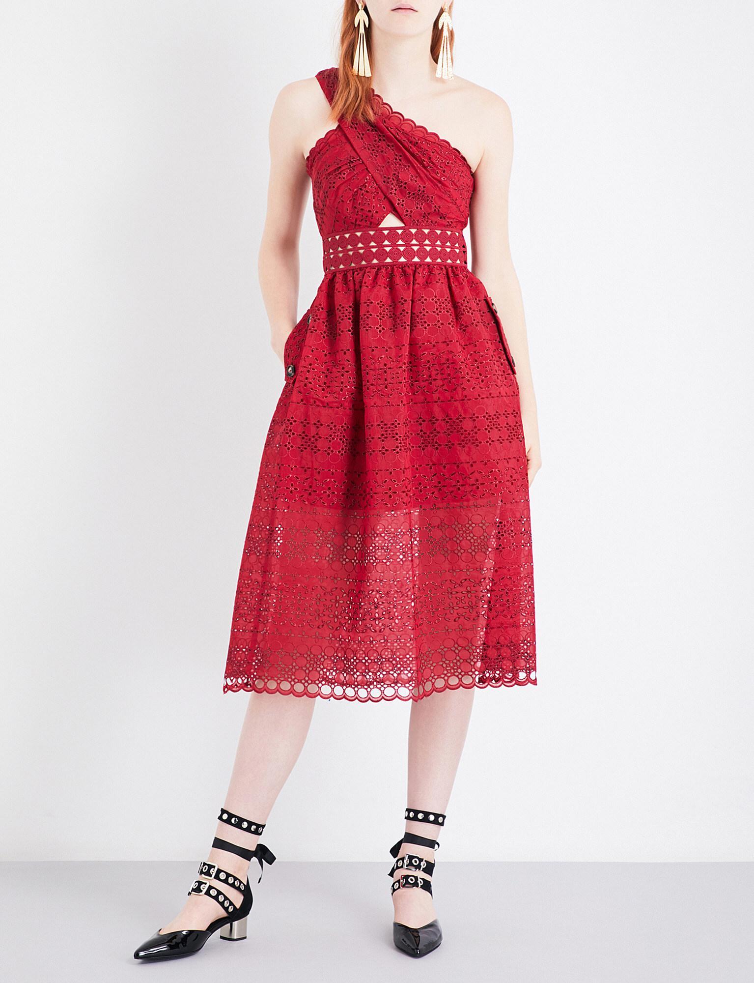 8449df7eee50 Self-Portrait One Shoulder Cutout Midi Dress in Red - Lyst