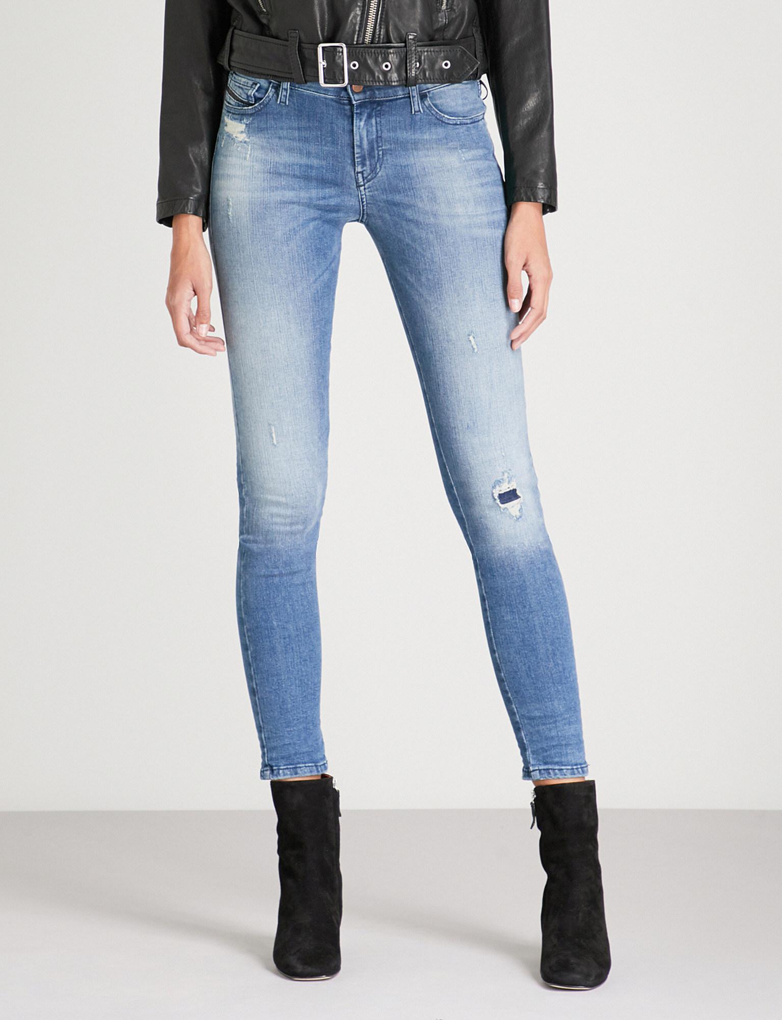 39319257 DIESEL Slandy Super Slim-fit Skinny Mid-rise Jeans in Blue - Lyst