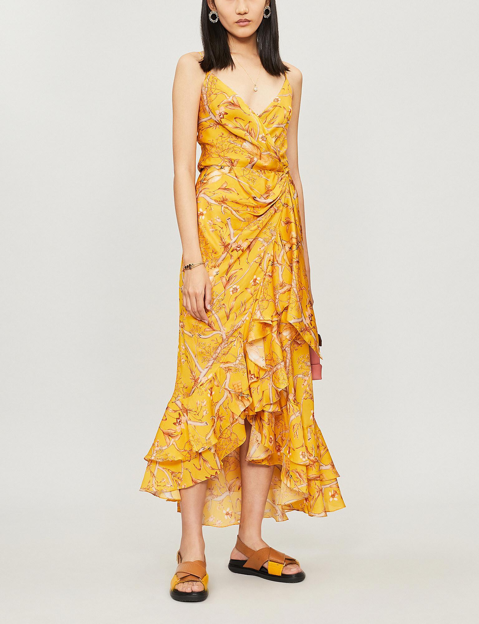 31abafd0345 Johanna Ortiz. Women s Yellow Ruffle-trimmed Floral-print Silk Wrap Dress