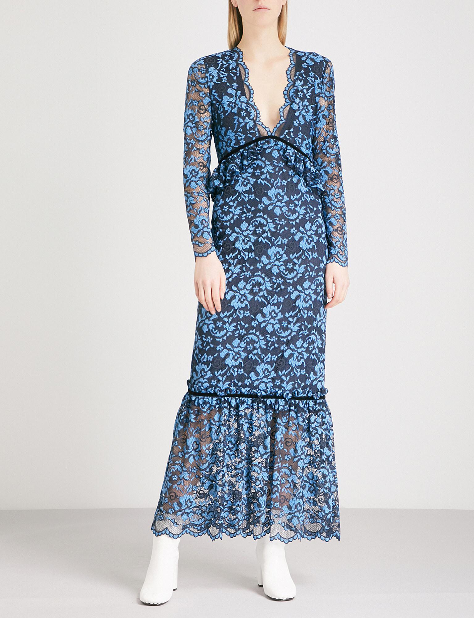 6757c8a2 Ganni Flynn Lace Midi Dress in Blue - Lyst